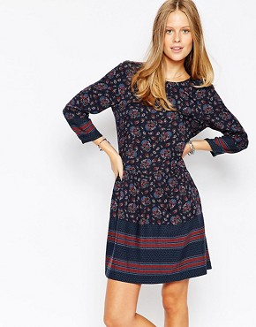 photo Printed Floral Shift Dress by Esprit, color Navy Multi - Image 1