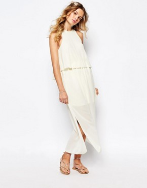 photo Frill Layered Maxi Dress by Darccy, color Cream - Image 1