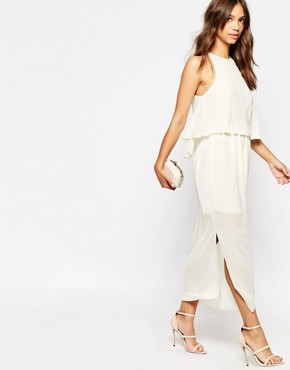 photo Midi Dress with Pleat Layer Top by Darccy, color Cream - Image 1