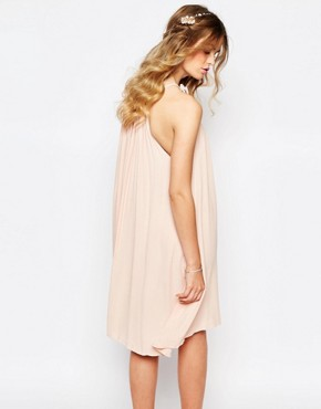 photo Gathered Ruffle Neck Swing Dress by Darccy, color Dusty Pink - Image 2