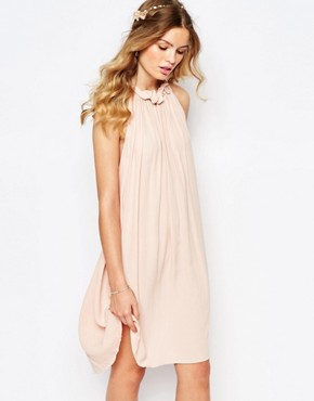 photo Gathered Ruffle Neck Swing Dress by Darccy, color Dusty Pink - Image 1