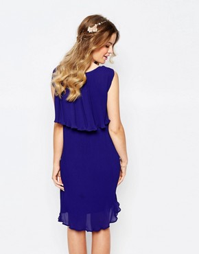 photo Pleated Cape Dress by Darccy, color Navy - Image 2