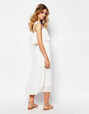 photo Cami Layered Maxi Dress with Embellished Neckline by Darccy, color Blue - Image 2