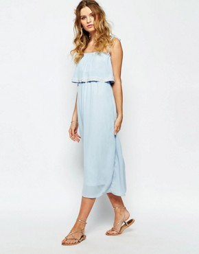 photo Cami Layered Maxi Dress with Embellished Neckline by Darccy, color Blue - Image 1