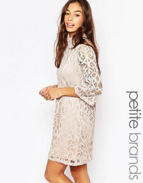photo Half Sleeve All Over Lace Dress by Vero Moda Petite, color Champagne - Image 1