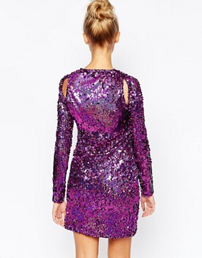 photo Cut Out Sequin Bodycon Party Dress by The Ragged Priest, color Purple - Image 2