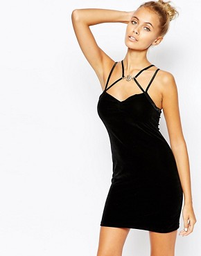 photo 90s Velvet Bodycon Party Dress with Lion Head by The Ragged Priest, color Black - Image 1