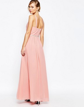photo V Neck Maxi Dress in Chiffon with Embellished Waist by Jarlo, color Rosebud Pink - Image 2