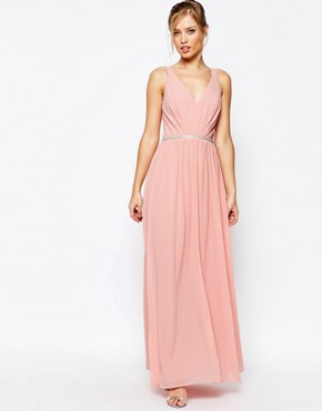 photo V Neck Maxi Dress in Chiffon with Embellished Waist by Jarlo, color Rosebud Pink - Image 1