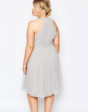 photo Midi Plunge Front Cross Back Prom Dress by Truly You, color Grey - Image 2