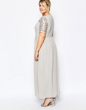 photo Maxi Dress with Sequin Embellished Top by Lovedrobe Luxe, color Grey - Image 2