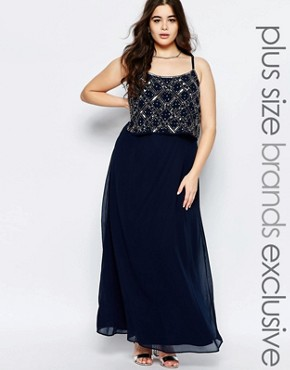 photo Double Layer Embellished Maxi Dress by Lovedrobe Luxe, color Navy - Image 1