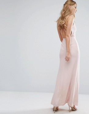 photo Frill Maxi Dress with Straps by Elise Ryan, color Soft Blush - Image 2