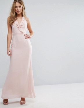 photo Frill Maxi Dress with Straps by Elise Ryan, color Soft Blush - Image 1