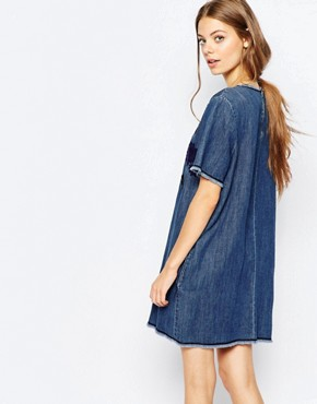 photo Mini Denim Dress with Embroidery by Sportmax Code, color Midnight Blue - Image 2