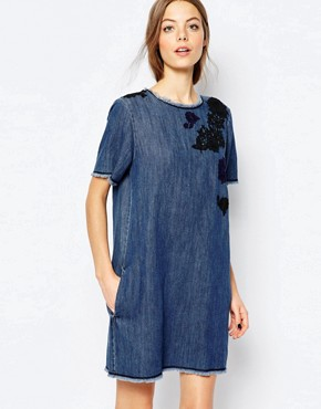 photo Mini Denim Dress with Embroidery by Sportmax Code, color Midnight Blue - Image 1