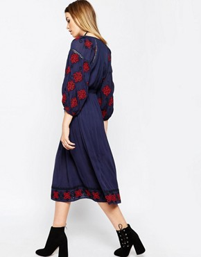 photo Embroidered Sleeve Tassel Tie Dress by ASOS PREMIUM, color Navy - Image 2