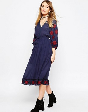 photo Embroidered Sleeve Tassel Tie Dress by ASOS PREMIUM, color Navy - Image 1