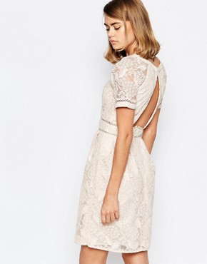 photo Lace Panel Skater Dress with Raglan Sleeve by Lost Ink, color Nude - Image 2
