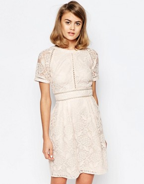 photo Lace Panel Skater Dress with Raglan Sleeve by Lost Ink, color Nude - Image 1