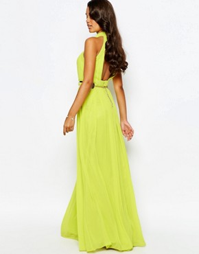 photo High Neck Pleated Maxi Dress by Forever Unique, color Lime - Image 2