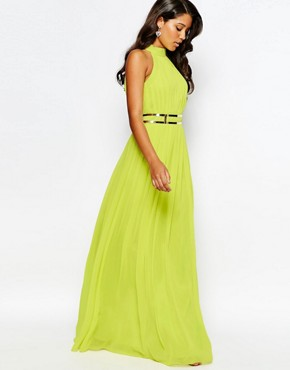 photo High Neck Pleated Maxi Dress by Forever Unique, color Lime - Image 1