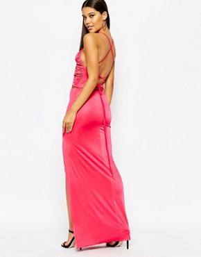 photo Wrap Front Maxi Dress with Strappy Back by NaaNaa, color Peacock Pink - Image 2
