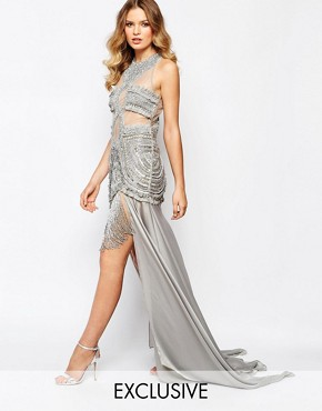 photo Luxe Embellished Mesh Top Maxi Dress with Split Skirt by A Star Is Born, color Grey - Image 1