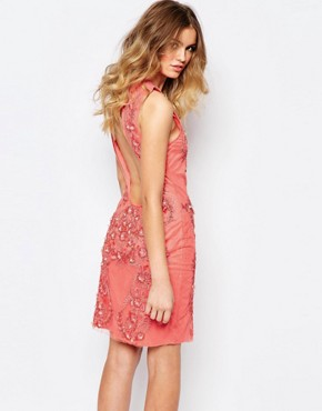 photo Allover Luxe Baroque Embellished Mini Dress by A Star Is Born, color Coral - Image 2