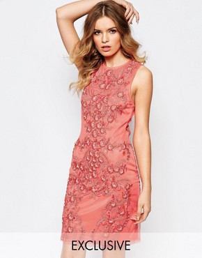 photo Allover Luxe Baroque Embellished Mini Dress by A Star Is Born, color Coral - Image 1