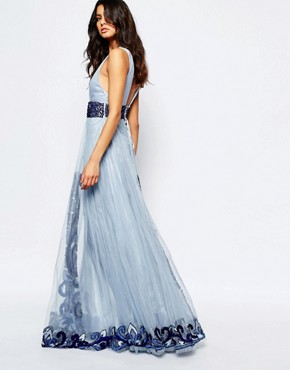 photo Luxe Plunge Front Full Tulle Prom Maxi Dress with Embellishment by A Star Is Born, color Powder Blue - Image 2