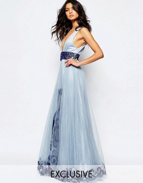 photo Luxe Plunge Front Full Tulle Prom Maxi Dress with Embellishment by A Star Is Born, color Powder Blue - Image 1