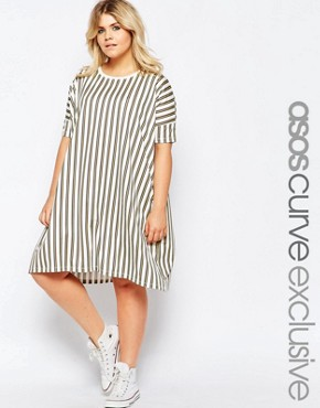 a39a638581 photo T-Shirt Dress in Multi Stripe Print by ASOS CURVE