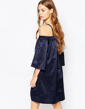 photo Cold Shoulder Wrap Dress by House of Sunny, color Navy - Image 2