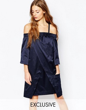 photo Cold Shoulder Wrap Dress by House of Sunny, color Navy - Image 1