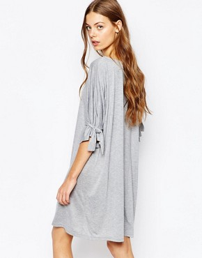 photo Shift Dress with Tie Sleeve by House of Sunny, color Grey Marl - Image 2