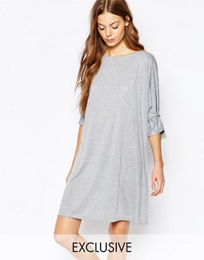 photo Shift Dress with Tie Sleeve by House of Sunny, color Grey Marl - Image 1
