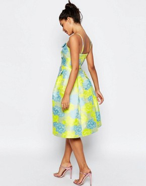 photo Bandeau Floral Midi Prom Dress with Bow by ASOS, color Multi - Image 2