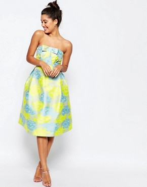 photo Bandeau Floral Midi Prom Dress with Bow by ASOS, color Multi - Image 1