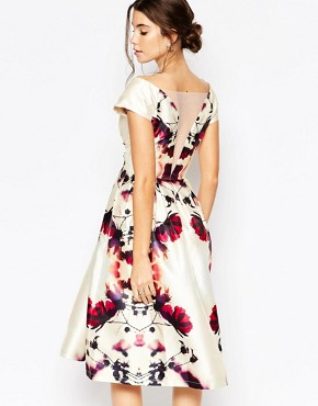 photo Plunge Neck Midi Prom Dress in Sateen by Chi Chi London, color Multi Print - Image 2