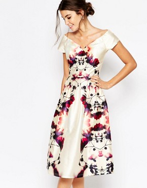 photo Plunge Neck Midi Prom Dress in Sateen by Chi Chi London, color Multi Print - Image 1