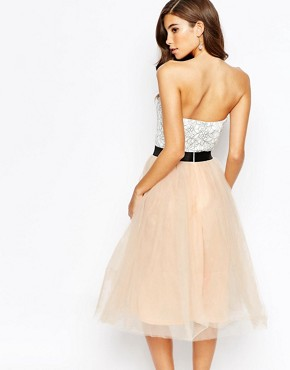 photo Lace Prom Midi Dress with Tulle Skirt by Rare London, color Cream/Nude Pink - Image 2