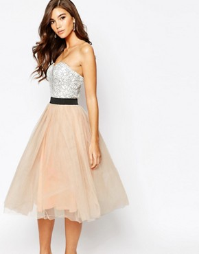 photo Lace Prom Midi Dress with Tulle Skirt by Rare London, color Cream/Nude Pink - Image 1