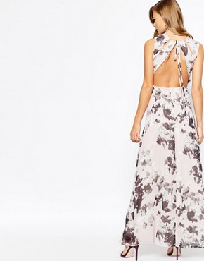 photo Print Maxi Dress with Open Back Detail by True Violet, color Floral - Image 2