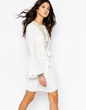 photo Lace Insert Tunic Dress with Drawcord Waist by WYLDR, color Cream - Image 1