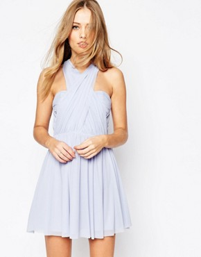 photo Multiway Mesh Mini Dress by ASOS WEDDING, color Ice Blue - Image 1