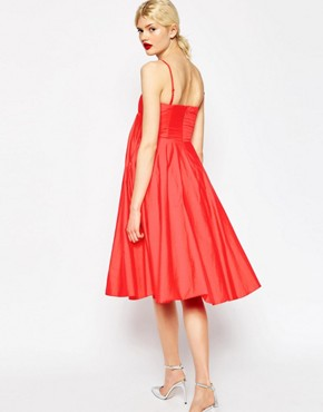 photo Extreme Fold Midi Prom Dress by ASOS PREMIUM, color Hot Red - Image 2