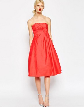 photo Extreme Fold Midi Prom Dress by ASOS PREMIUM, color Hot Red - Image 1