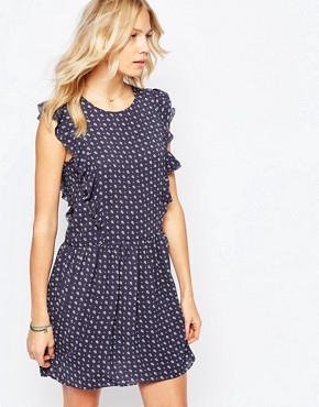 photo Ruffle Front Print Dress by Pepe Jeans, color Blue - Image 1