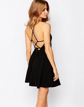 photo Strappy Mini Dress in Black by Millie Mackintosh, color Black Crepe - Image 1